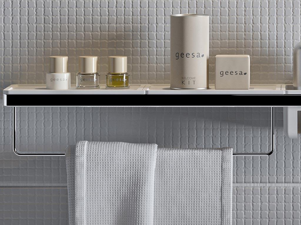Geesa badkameraccessoires handdoekrek en plankje